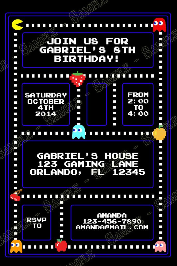 Classic Pac Man Birthday Party Invitation In 2019 Jesses 10th