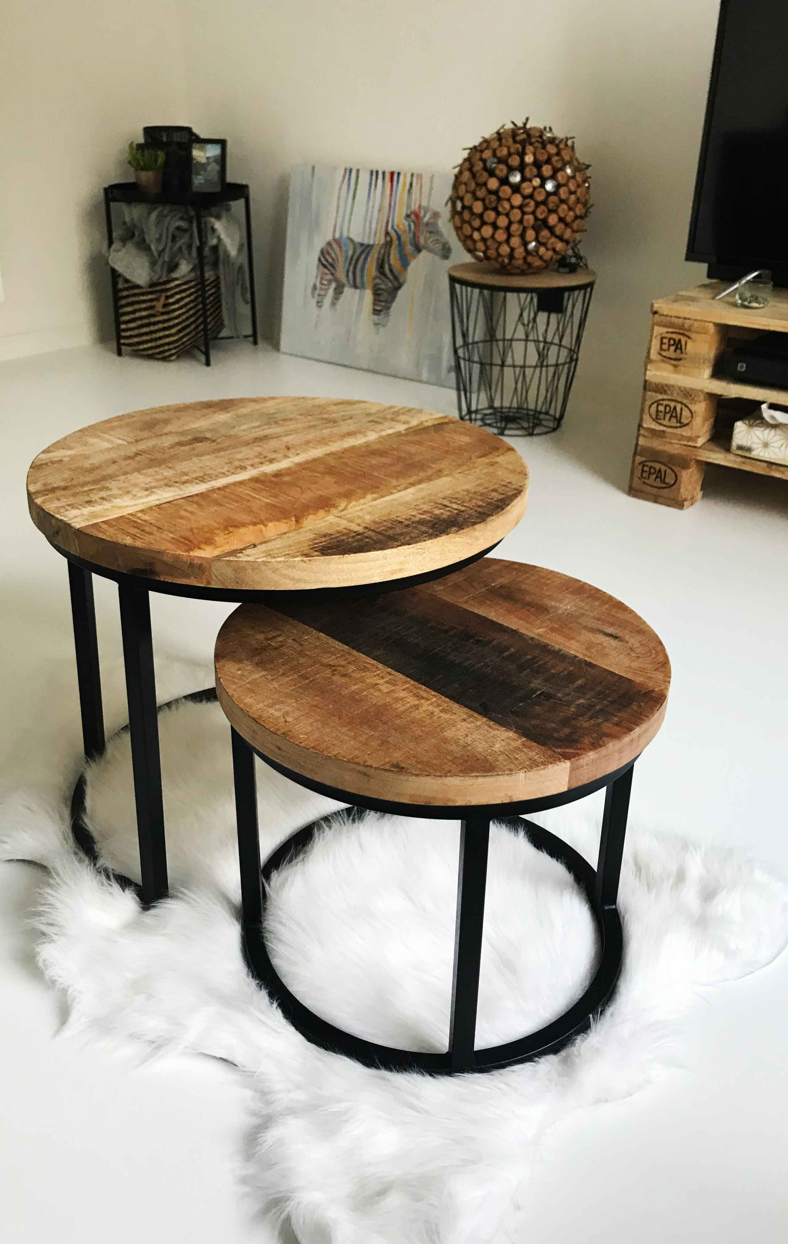 Industrial Coffee Table Giro Set Of 2 In 2020 Stylish Home