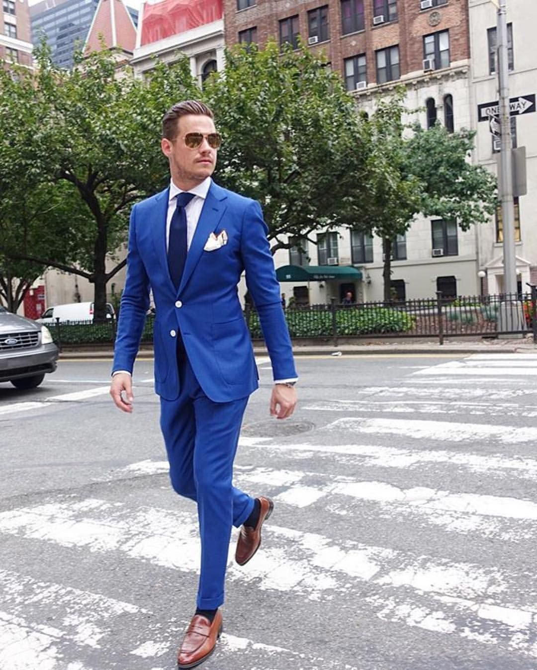 Cobalt Blue Mens Suit with Brown Loafers