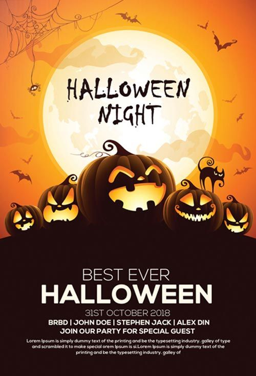 Free Halloween Party Invitation Flyer Template  Http