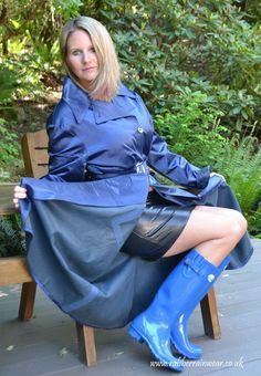 Girl rubber Naked boots wearing