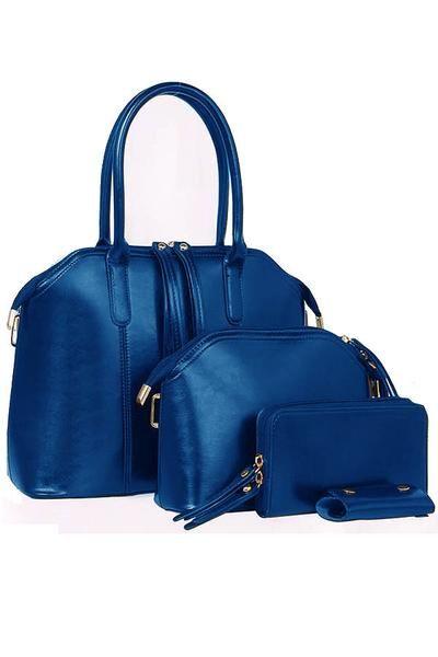 7c3793eb1b0 European 4 in 1 Luxury PU Leather Keychain Wallet Hand Bag Blue -  Lulugift.com  Affordable Designer Handbags malaysia bag murah