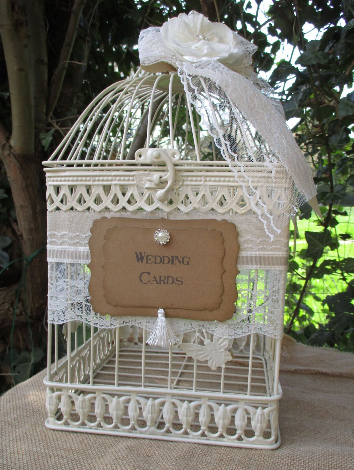 Birdcage Wedding Card Holder Post Box Linen And Lace Card Etsy Wedding Cards Wedding Card Holder Wedding Birdcage