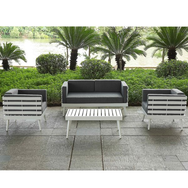 Fashionable All Weather Outdoor Terrace Lounge Furniture Patio Waterproof White Alumin Cast Aluminum Patio Furniture Outdoor Sofa Sets Outdoor Garden Furniture