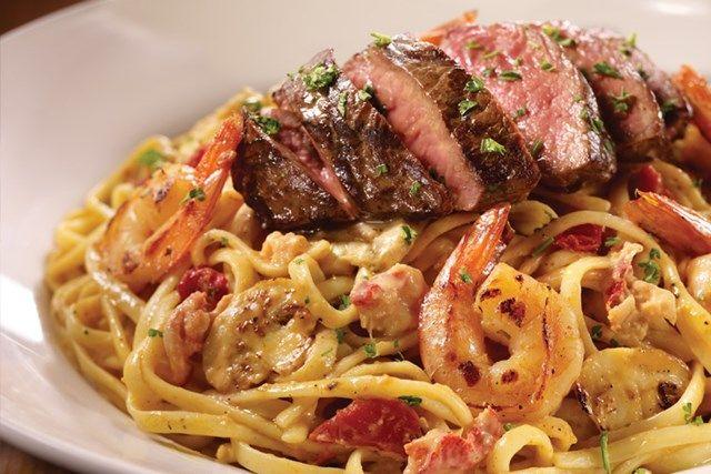 Bistro Steak Shrimp Lobster Alfredo Pasta Steak And Shrimp Pasta Recipes Alfredo Lobster Alfredo Recipe