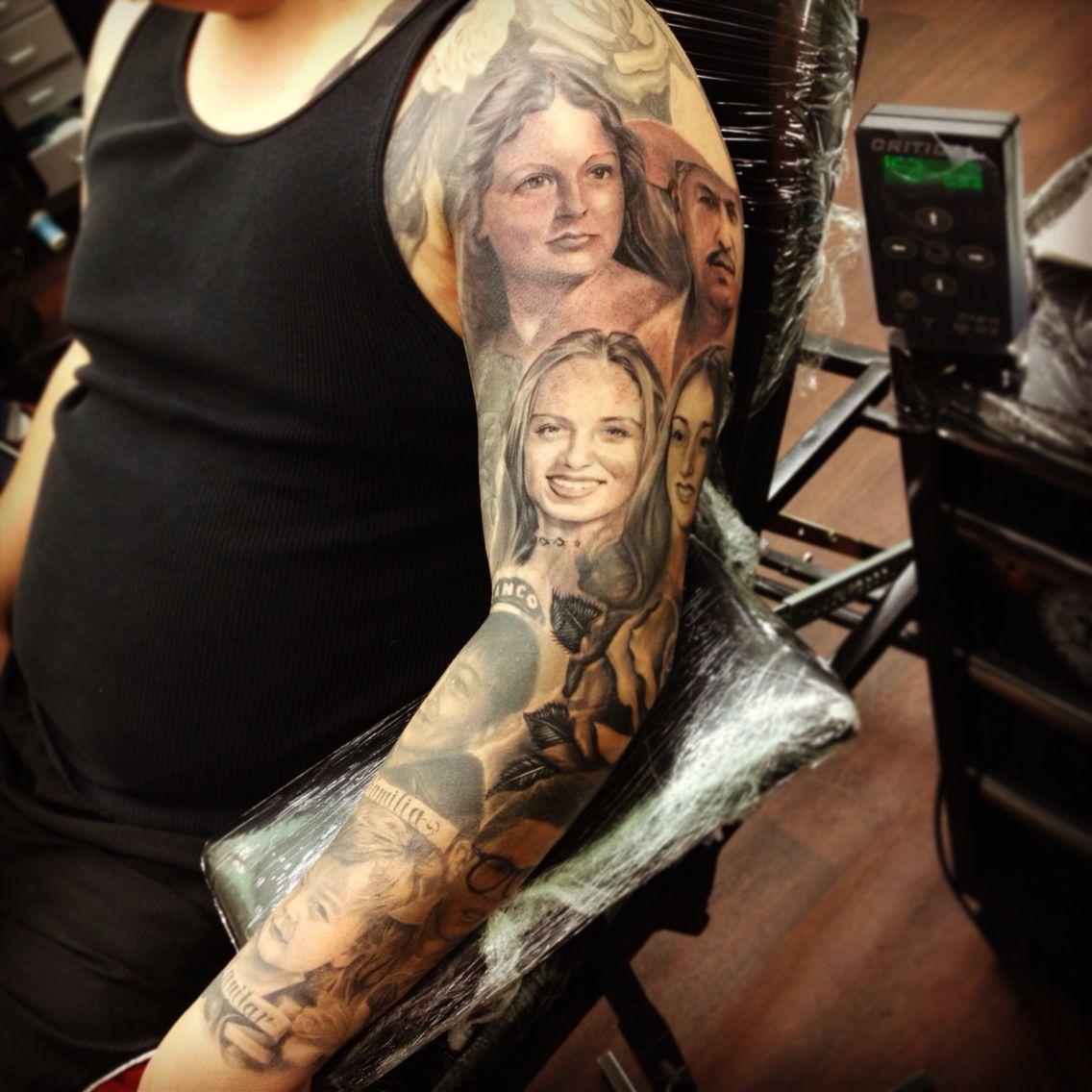 Portrait Tattoo Sleeve Ideas: Family Portraits On My Cousin, Thanks Again Primo