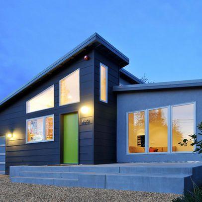 Modern Exterior Window Trim contemporary home. dark grey with minimal white trim. no grates in