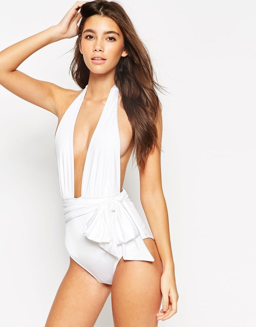 ASOS Belted Plunge Swimsuit at asos.com