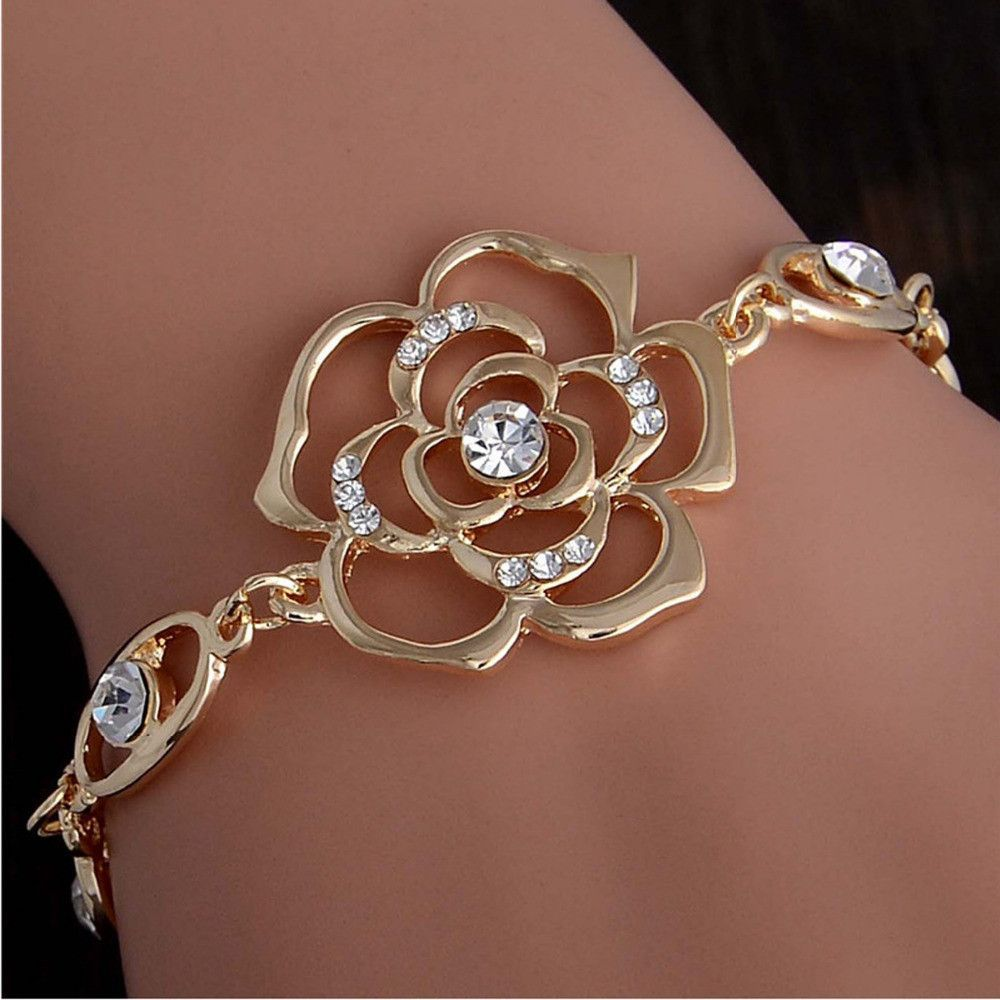 Gold Plated Austrian Crystal Hollow Charming Rose Flower Chain