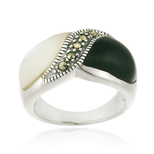 Glitzy Rocks Sterling Silver Onyx Mother of Pearl and Marcasite Ring (size 5), Women's, Black