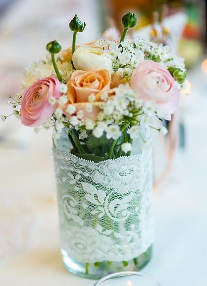 Hochzeit dekoration apricot rosa wei spitze for Dekoration rosa