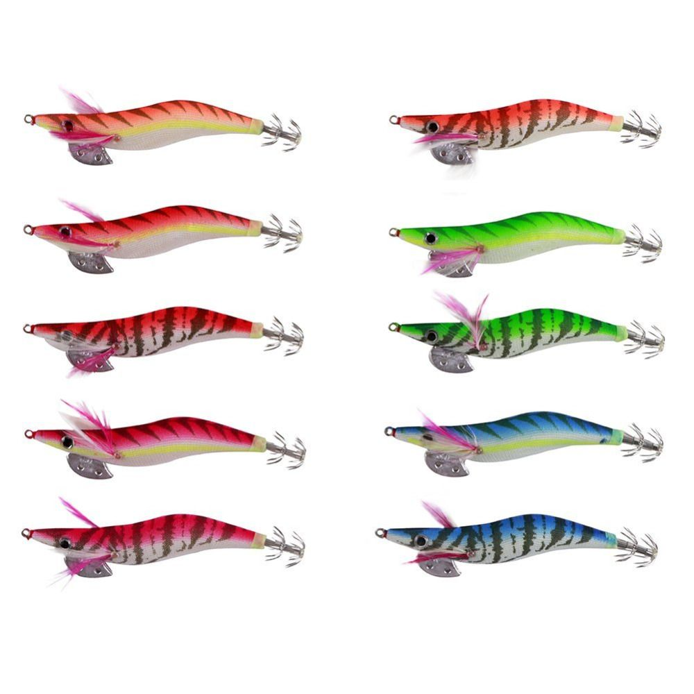 Compare Prices 10pcs Fishing Artificial Bait Squid Jigs Octopus Spoon Lure Spinner Metal 10 Pcs Plus Box Cuttlefish Shrimp Lures Free