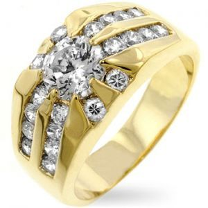 Men\'s Solar 14K Yellow Gold Bonded Simulated Diamond Bling Ring - All  Things Luxury