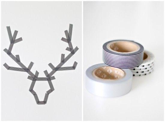 16x Neutrale Kerstdecoraties : Hert contour van washi tape~ ideeën voor in huis pinterest