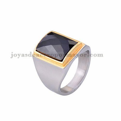 anillo de piedra negra en acero plateado inoxidable -SSRGG371785