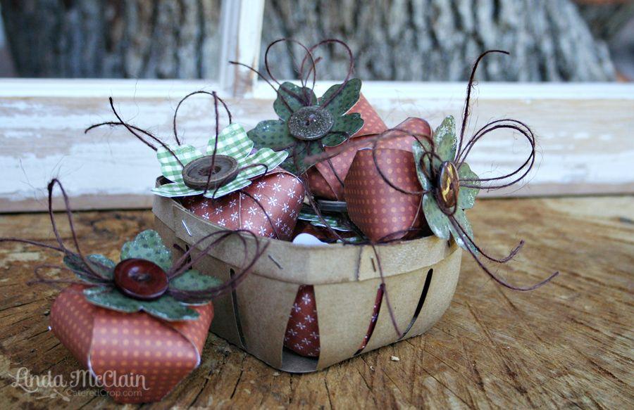 3d paper pumpkin treat box and berry bushel basket