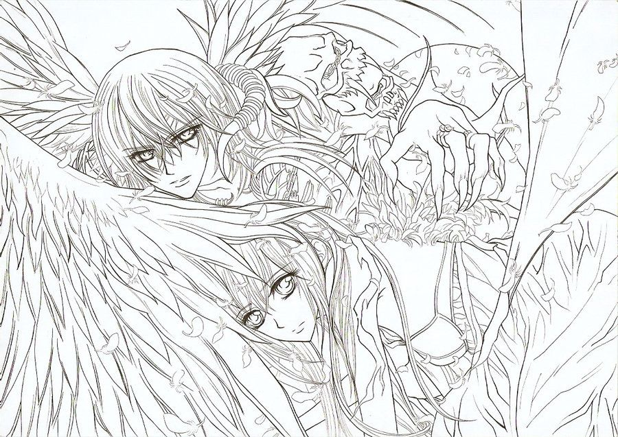 Vampire Knight Lineart Angel Coloring Pages Pokemon Coloring Pages Mermaid Coloring Pages