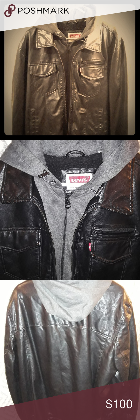 Mens Badass Black Leather Levis Jacket Badass Mens Black Leather Jacket By Levis This Jacket Comes With A Built In Hoodie W Black Leather Levis Jacket Jackets [ 1740 x 580 Pixel ]