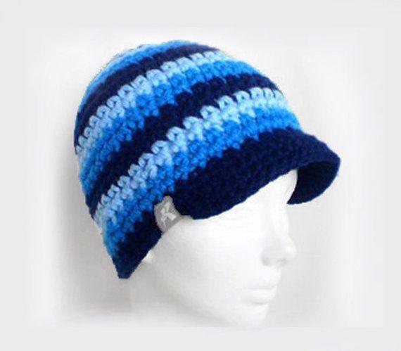 47759c8f584 Peaked Beanie Navy Blue Bright Blue   Baby Blue Crochet