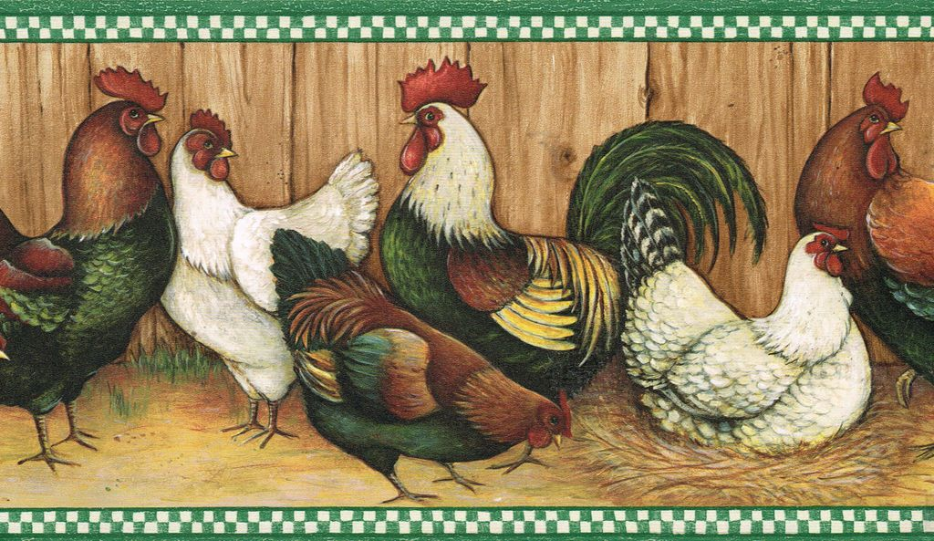 ROOSTERS OF ALL KINDS COUNTRY KITCHEN Wallpaper Wall