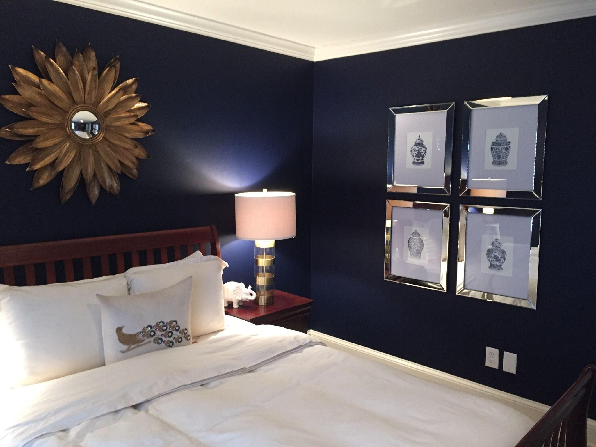 Chinoiserie Inspired Navy And White Master Bedroom Paint