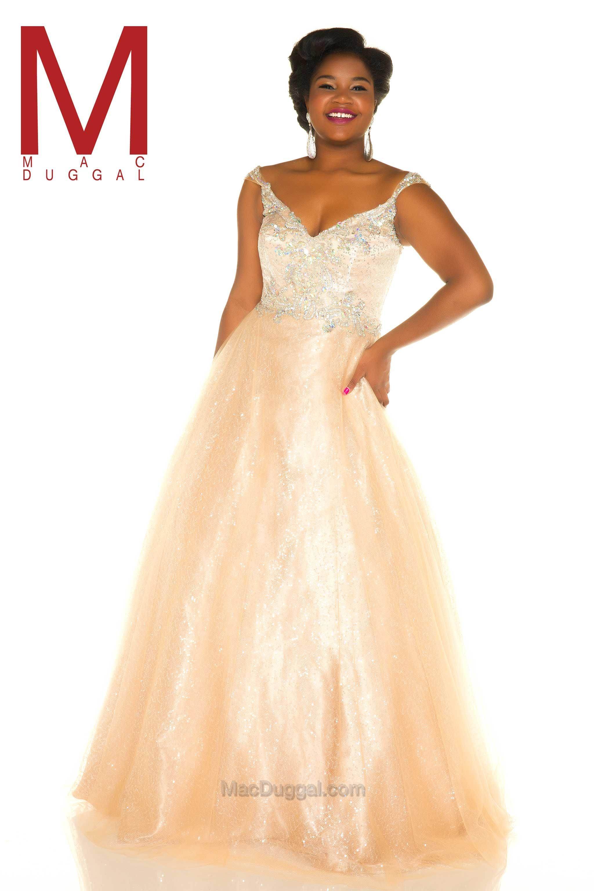 """937962669ea There is no doubt that this is the true """"belle of the ball"""" evening gown. Mac  Duggal Style 65037F is a fabulous plus size prom dress that features off  the ..."""