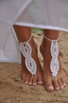 Crochet Barefoot Sandals Beach Pool Nude shoes Foot jewelry Wedding shoes White sandles