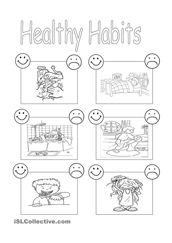 Healthy Habits Worksheets for Kindergarten   Worksheet for Kindergarten    Healthy habits for kids [ 1440 x 1018 Pixel ]