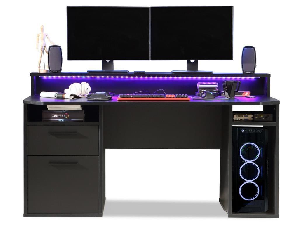 Tezo Iii Gaming Schreibtisch Material Nachbildungspanplatte Schwarz Matt Inkl In 2020 Gaming Schreibtisch Schreibtisch Zocker Zimmer