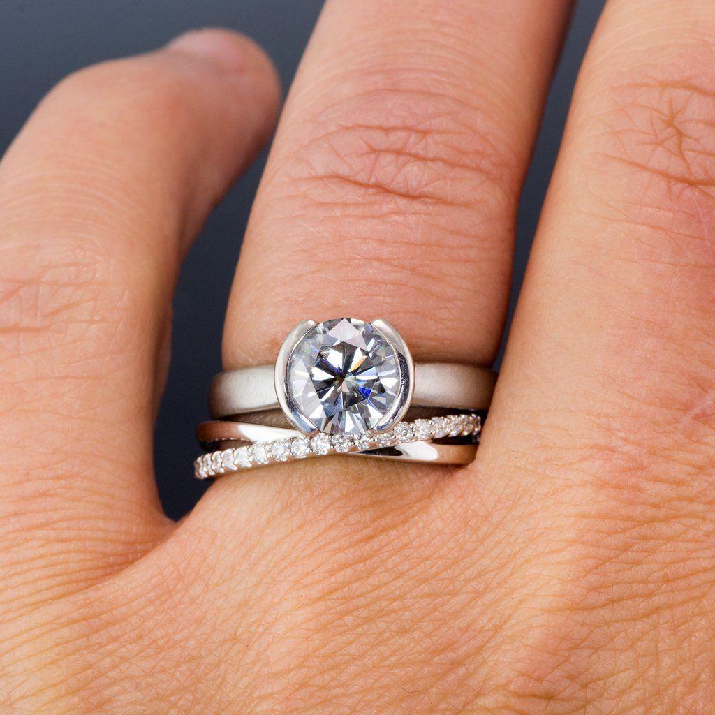 Criss Cross Band Contoured Wedding Ring with Diamonds