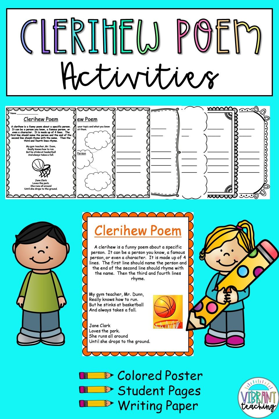Clerihew Poems For Kids In 2020 Poem Activities Poetry For Kids Writing Activities