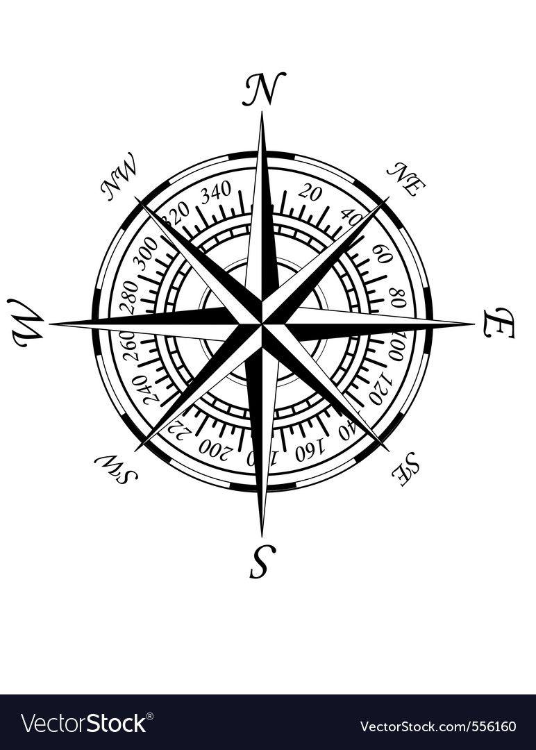 Antique Compass Vector Image On Vectorstock In 2020 Nautical Compass Tattoo Compass Rose Nautical Wall Art