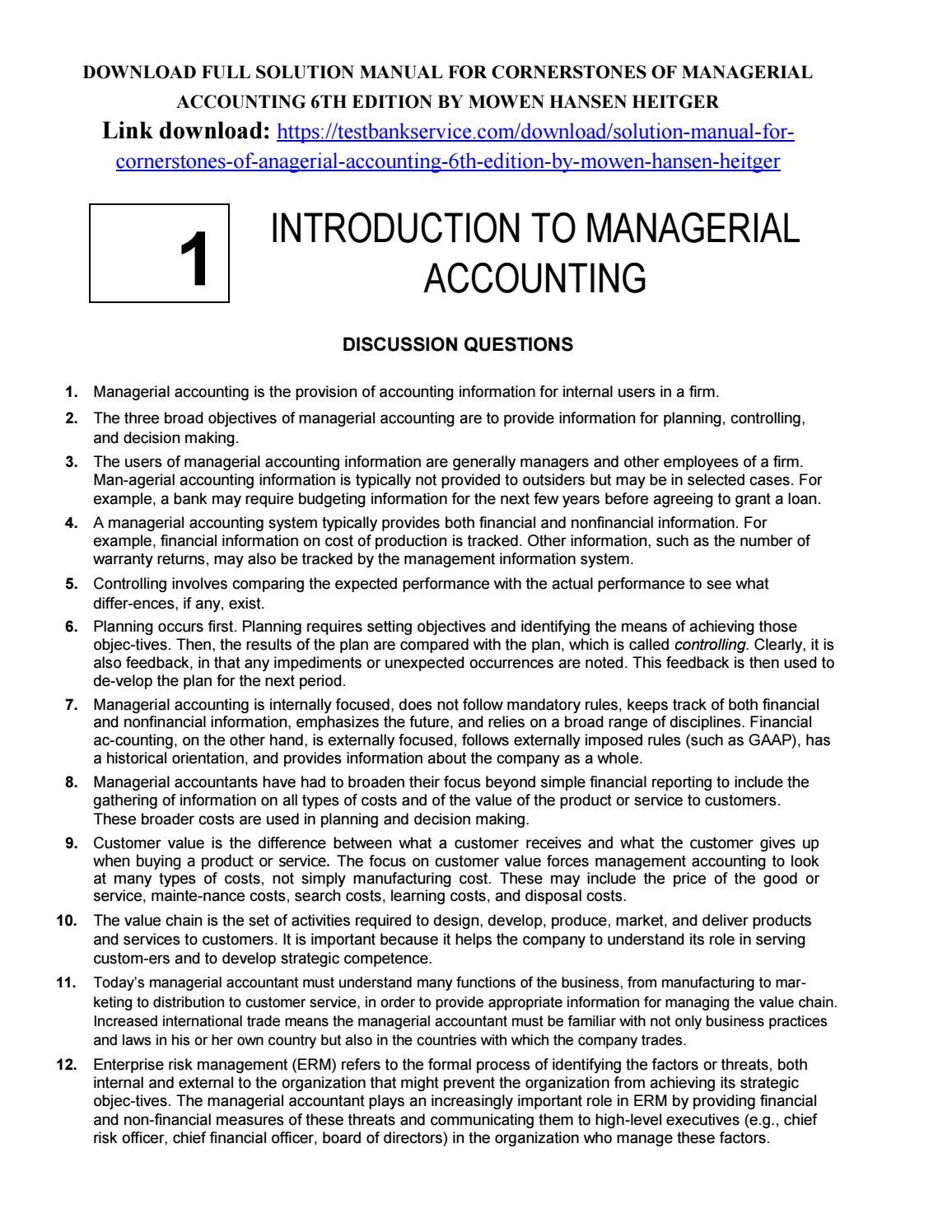 Solution Manual for Cornerstones of Managerial Accounting 6th Edition by  Mowen Hansen Heitger