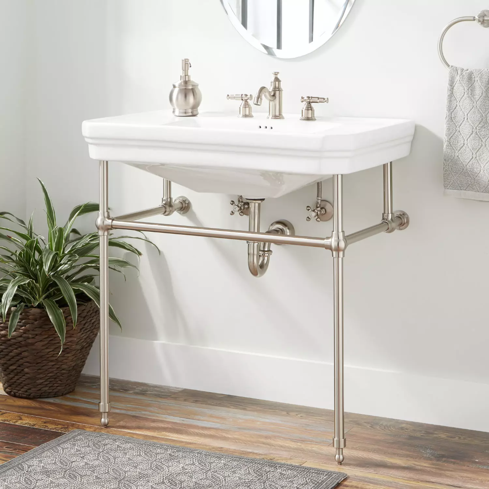 The Kacy Porcelain Console Sink With Brass Stand Is The Perfect Blend Of Traditional And Contemporary This Sink Di Console Sink Bathroom Console Console Sinks