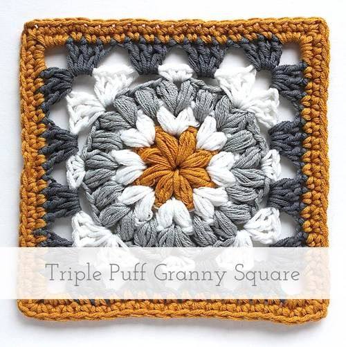 Triple Puff Granny Square   Free pattern + tutorial