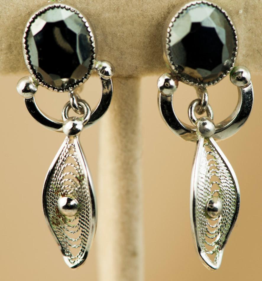 Vtg 925 Sterling Silver Filigree Floral Design Dangling Screw Back Earrings