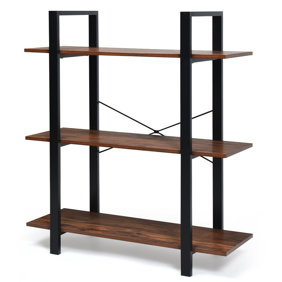 3 Tiers Bookshelf Industrial Bookcases Metal Frame Shelf Stand 79 95 Free Shipping It Is Made Of P2 Grad Metal Bookshelf Metal Bookcase Industrial Bookcases