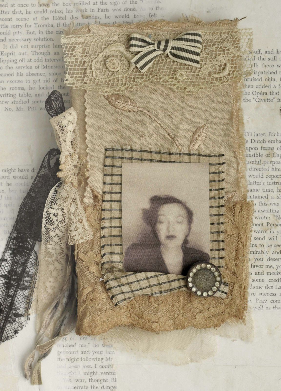Mixed Media Fabric Collage Book of Angels of Photobooth Ladies   eBay