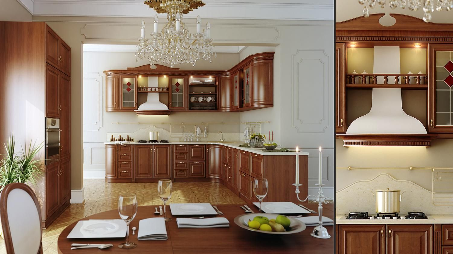 Excellent Kitchen Design Ideas from Meedo : Excellent Kitchen Design Ideas  From Meedo With White Wall And Luxury Chandelier And Classic Wood.