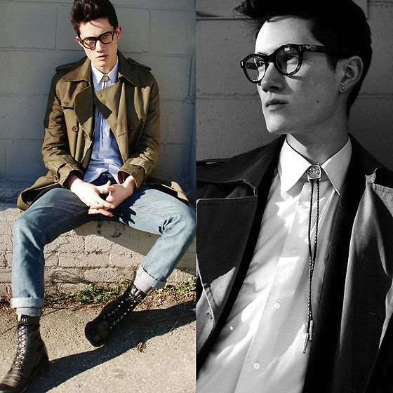 Around The Collar Bolo Tie, Vintage Boots, Canvas Trenchcoat