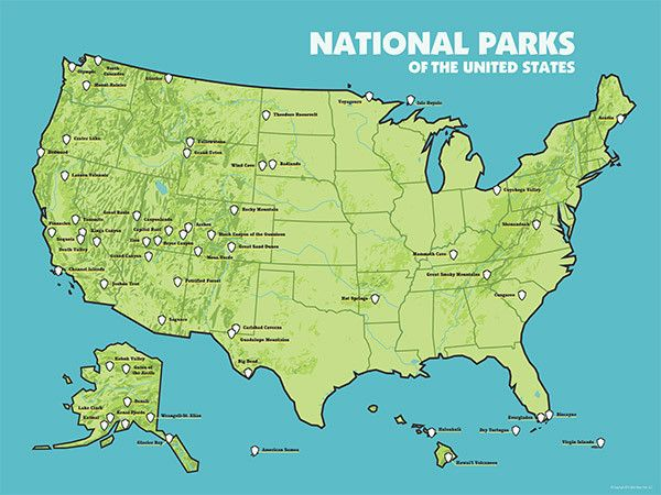 US National Parks Map 18x24 Poster (2015) | Travel | National parks ...