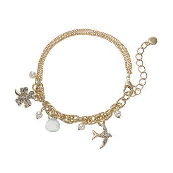 Lc Lauren Conrad Bird Clover Bead Charm Bracelet Kohls