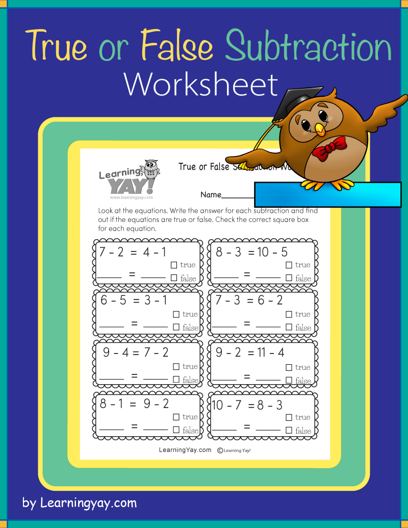 First Grade True or False Subtraction Worksheet in 2020   Subtraction  worksheets [ 1035 x 800 Pixel ]