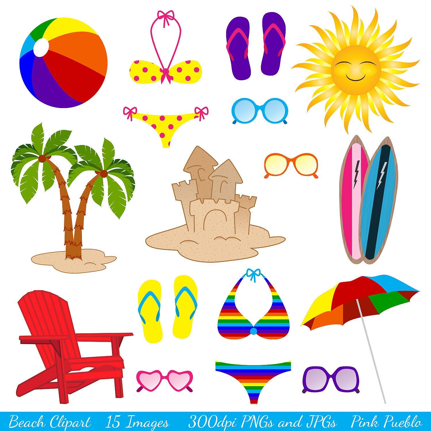 Beach Clipart Clip Art Summer Vacation Travel Vectors