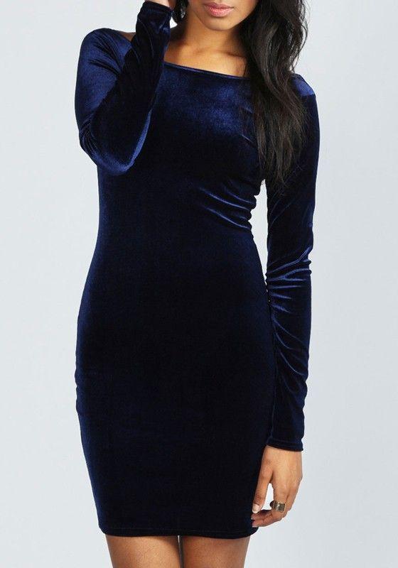 e746d358b6 Dark Blue Plain Backless Long Sleeve Fashion Velvet Mini Dress ...