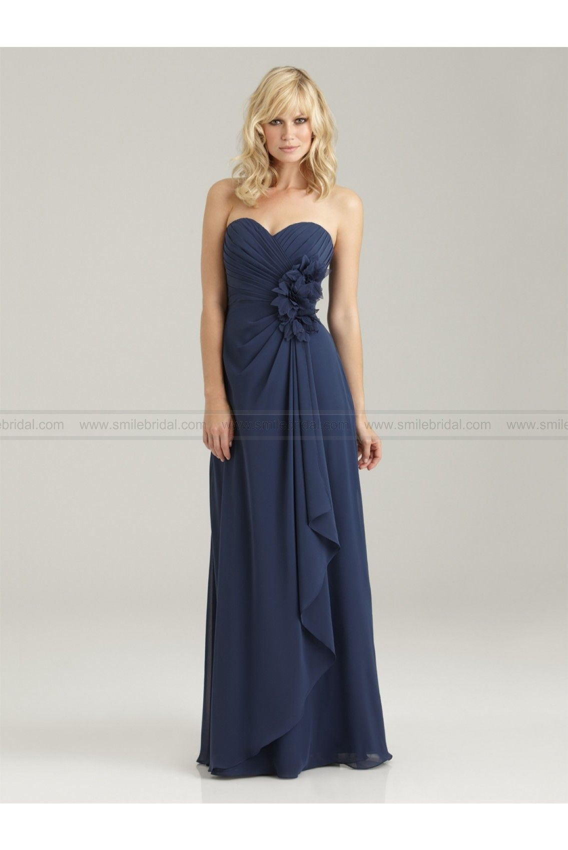Asym sweetheart ruched handmade flower trimmed bridesmaid gowns