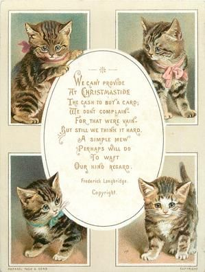 Four Rectangular Views Of Cats With Oval Centre For Greeting With Images Cat Christmas Cards Vintage Christmas Cards