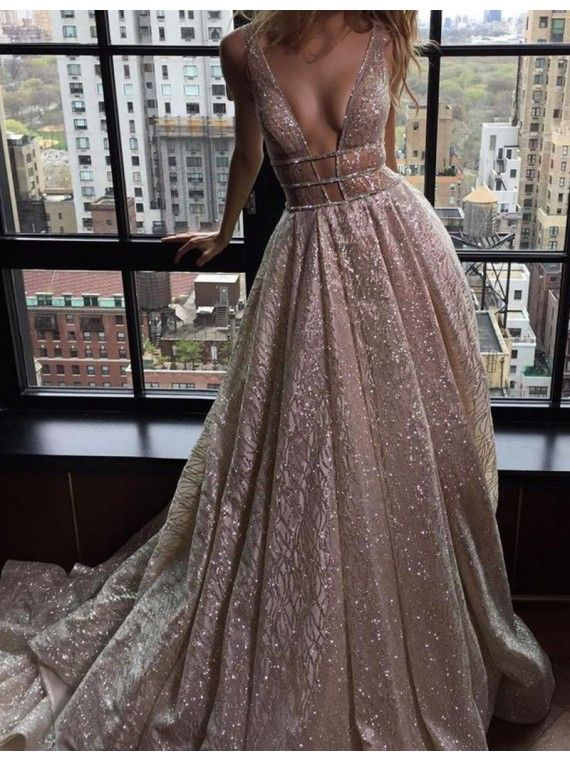4a89303a18 Honorable Deep V-Neck Court Train Pink Backless Prom Dress with Sequins