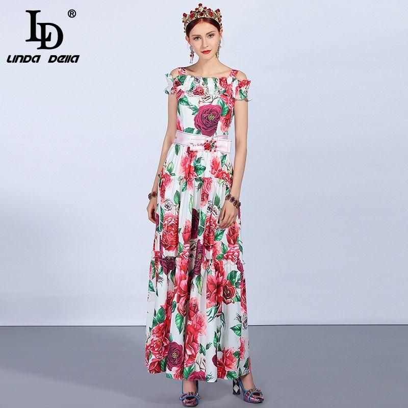 Runway Summer Party Maxi Dresses Womens Off the Shoulder Belt Elegant Floral  Print Long Dress ef162957e