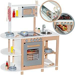 Kinderküche Aus Holz (Weiß Silber) Spielküche Für Kinder | Diese Schicke  Holzküche übertrifft